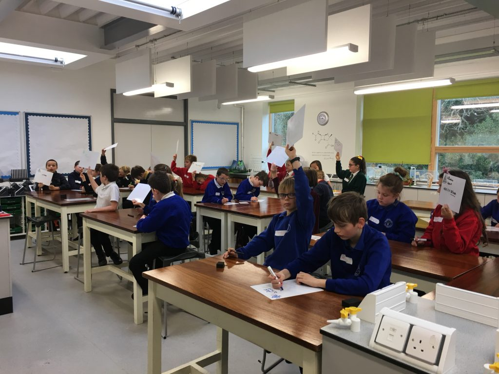 Primary children take part in a Science workshop as part of the outreach programme